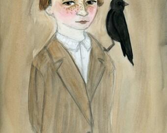Victorian Portrait, Art Print, Daniel, Goth Boy, Victorian Foundling, Blackbird art, Watercolor Painting (6x8) Gothic Decor