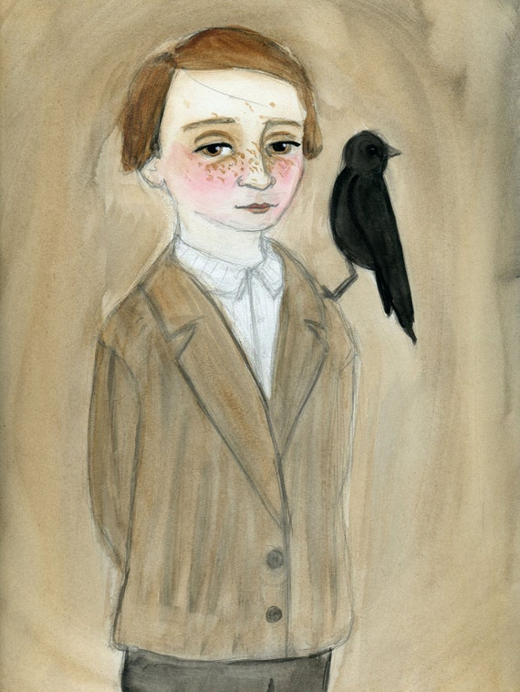 Daniel Victorian Portrait Art Print, 19th Century Orphan Boy and Blackbird Illustration Painting (6x8) Gothic Room Decor
