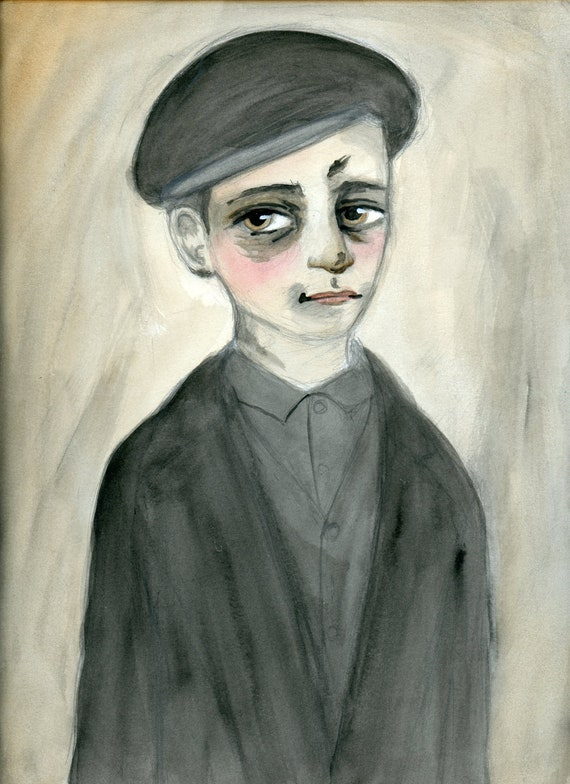 Tom, Coal Miner, Victorian Illustration, 19th Century Orphan Boy Watercolor Portrait Art Print (6 x 8)