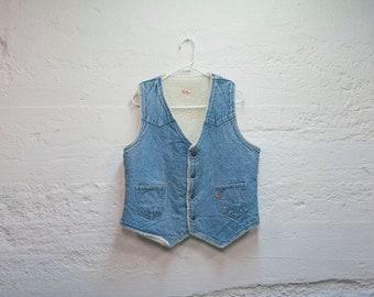 Vintage 80s LEVIS Denim Sherpa Lined Jean Vest Large