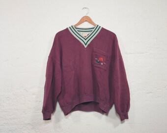 Vintage 80s GUCCI Purple V Neck Sweatshirt Small