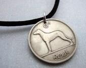 IRISH WOLF HOUND coin necklace. Ireland necklace. Irish harp. dog jewelry. year of the dog. greyhound. dog necklace. Irish necklace 6P2