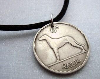 IRISH WOLF HOUND coin necklace - Ireland - harp - dog coin - year of the dog - celtic - greyhound - dog necklace - Irish harp necklace