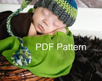 PDF Crochet elf hat pattern, file available for instant download. Finished size fits newborn to 3 months.