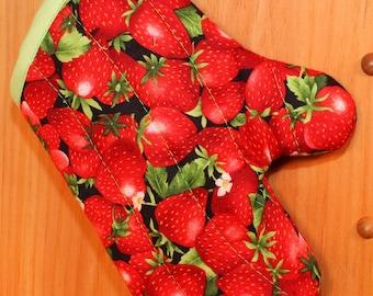 Child's Oven Mitt, Red Strawberries Child's Oven Mitt