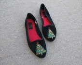 black velvet xmas christmas tree flats shoes slippers loafers 7 8 xmas shoes holiday jessica stevens