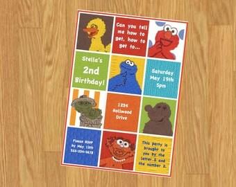 Sesame Street Invitation, Sesame Street Party, You Print