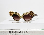 Vintage Inspired Retro Gold Floral Rhinestone Deco Cateyed Sunglasses