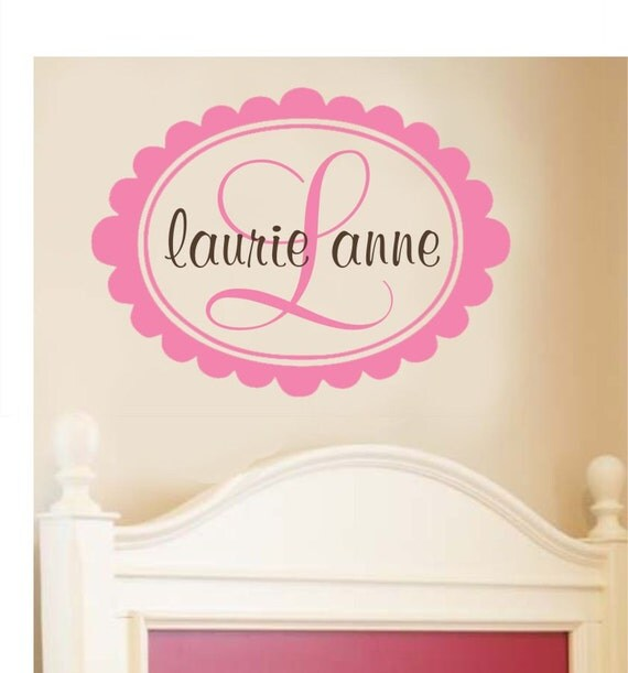 Girls Monogram Wall Decal Personalized Wall Decal Name Decals Bedroom Wall Art Kids Decals Scallop Wall Decal Personalized Decor Bedroom