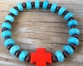 Turquoise Bracelet- Cross Bracelet- One Size Fits Most- Red Cross- Trendy Bracelet
