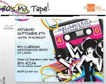 80's - 1980s Printable Birthday Party Invitation - DIY Print - Print it Yourself Eighties Invite