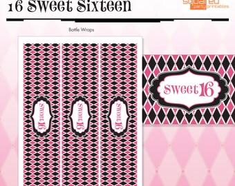 Zebra Sweet Sixteen - 16 - Bottle Wraps, Drink Wraps - Hot Pink - DIY Print - Zebra Print and Hot Pink - Instant Download