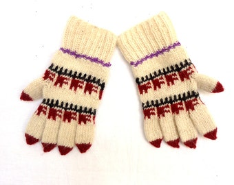 Vintage, 1985's knitted Mittens, Knit Gloves, Wool Gloves, Gloves Five Finger.
