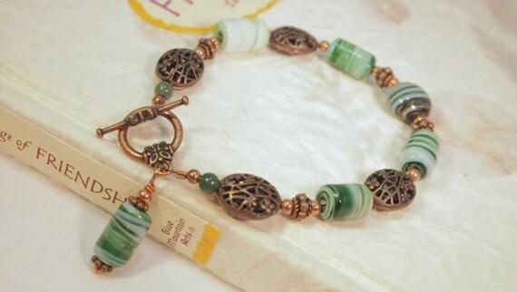 SALE. Copper and Green Glass Beaded Bracelet. Handmade Bracelet. CKDesigns.US