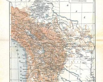 Vintage Map Bolivia 1920s