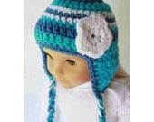 "18"" Doll Clothes - Earflap Hat - Blue, Torquoise and White Striped Beanie for American Girl"