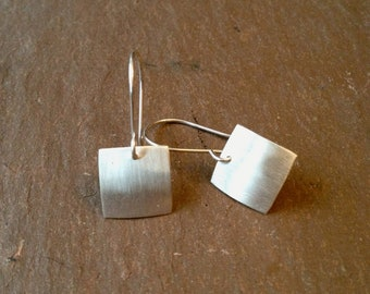 Brushed silver square earrings - small simple earrings
