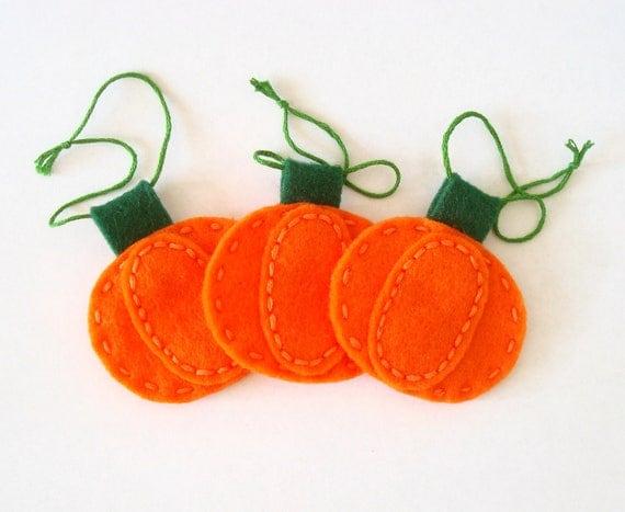 Halloween Decor Pumpkin Felt Ornament Set