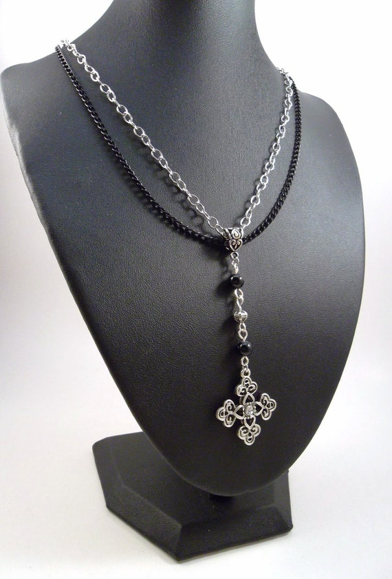 Gothic Rosary Cross Necklace