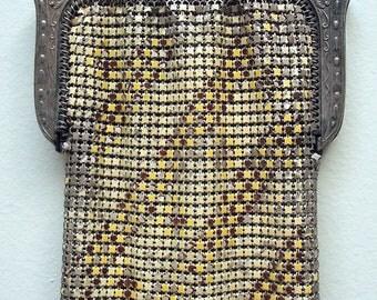 VIntage 1920s Whiting and Davis Enamel Mesh Purse w/ Openwork Frame - Gothic Handbag Purse - Vintage - Goth - Steampunk