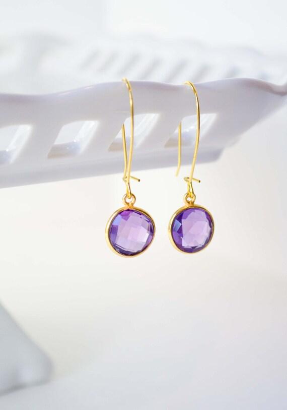 CLEARANCE- Purple & Gold Earrings - Bezel Amethyst Purple Hydro Quartz, Gemstones, Gold, Dangles, Simple, GAQ-210