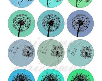 Dandelions Ver1 Bottlecap Images / Teal Mint Blue Green Dandelion Silhouettes Digital Collage / Printable 1-Inch Circles / Instant Download