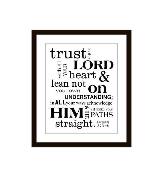 Scripture Art Print Christian Subway Style Proverbs 3 5-6
