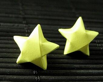 Star Earrings. Yellow Star Earrings. Oragami Star Earrings. Paper Star Earrings. Silver Post Earrings. Stud Earrings. Origami Jewelry.