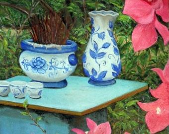Floral still life painting is from my recent Vietnam adventure, comes framed and ready to hang.