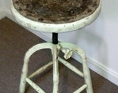 Industrial Stool Rustic Wood Leather and Cast Iron - FingerLakesFinds