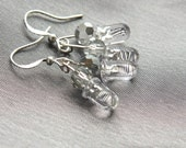 Geekery Earrings, Eco Friendly Earrings,  Upcycled Electronics, Tiny Clear LED Light Dangle Computer Part Earring, Sterling Silver