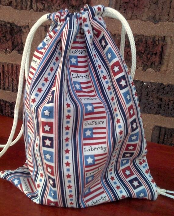 Americana Gift Bag Upcycled Reusable Patriotic  7  X 8 1/2