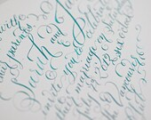 I Heart Calligraphy -- Heart Calligraphy Wedding Invitation -- Custom Hand Lettered - Heart Shaped Invite