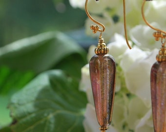 Czech squared fall teardrops beautiful copper luster finish vermeil components and earwires earrings
