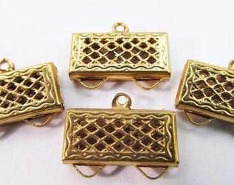 8 Vintage Gold Plated Filigree Brass Connectors Con61