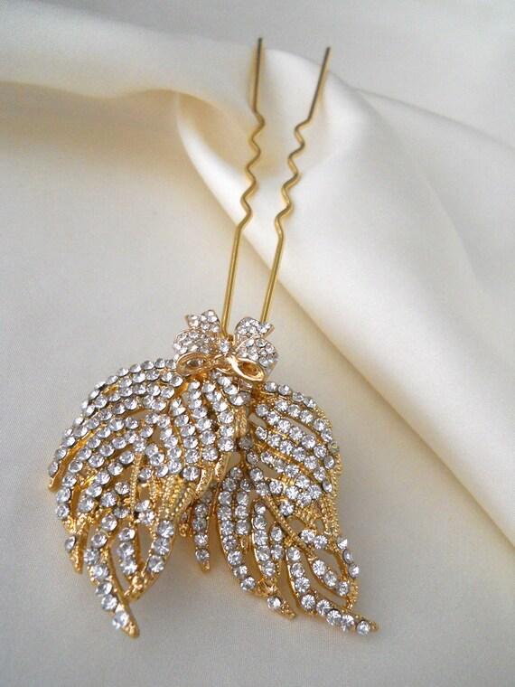 Bridal crystal hair pin, Gold hair pin, Crystal leaf hair pins in gold or silver