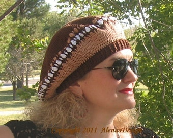 Crochet Pattern 010 - Crochet Hat Pattern - Hat Crochet Pattern for Brown Beret - Slouchy Hat Tam Ladies Teen Women Autumn Spring Winter