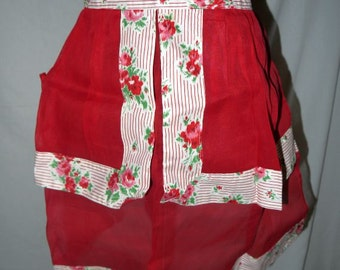 Vintage 40s 50s half apron / red floral rose / organza semi sheer / mid century housewife wife / kitchen linen collectable