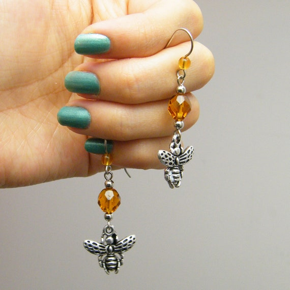 Honey Harvester - Chuck's Buzzing Passion - Cute Fun Honey Color Beaded Bee Charm Silver Tone Earrings