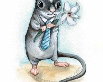 Gerbil Art, Pet Memorial, Custom Print Size, Flower Nursery, Blue Tie, Pet Owner Wall Art, Mouse Decor, I Love You, Animal Lover Gift