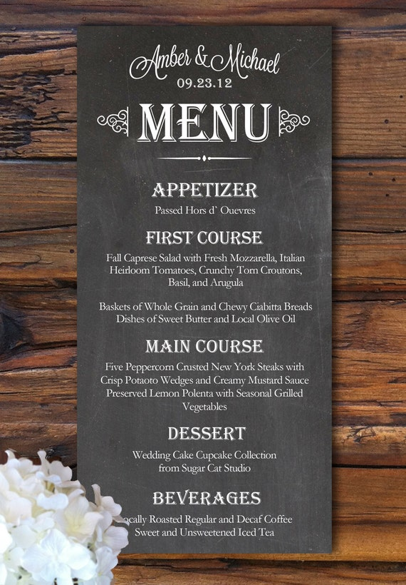 Items similar to wedding menu chalkboard style on etsy for Wedding invitation making course