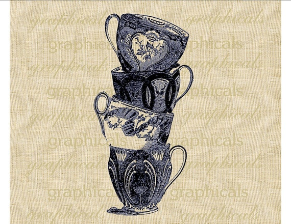 Stacked English china teacups Navy or Black Instant Digital download image for  transfer to burlap towels hot mats aprons tags cards No. 388