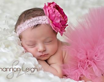Pink Baby Tutu Sweet Baby Blush Tutu Pink Newborn Tutu Custom Made With Matching Vintage Style Flower Headband Stunning Newborn Photo Prop