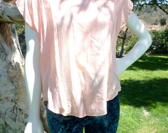 Vintage '80s Silk Sheer DIANE VON FURSTENBERG Slouch Tee Blouse Size Medium