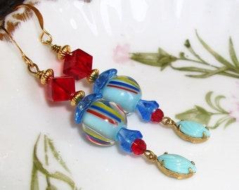 "Fun GLASS Dangle EARRINGS, Handmade w/Vintage Lampwork Beads, - ""Tilt-A-Whirls"" - Blues, Yellow & Red,  Swarovski Cubes,OOAK"