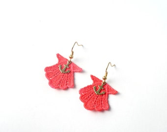 Neon Pink Seashell Lace Earrings with Gold Anchors