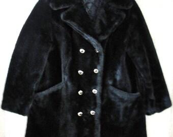 Vintage Womans Black Faux Fur Pile Coat Sears Fashions   Size 16