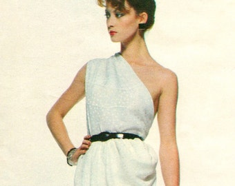 Givenchy one-shouldered cocktail or evening dress pattern -- Vogue Paris Original 2307