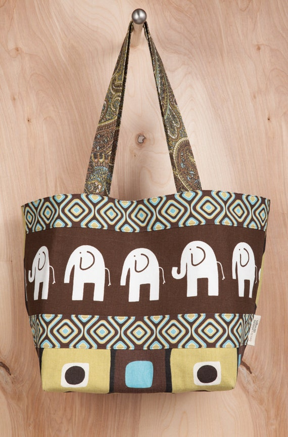 Tote bag- Canvas Tote- Chocolate Elephant- Tic tac tote- by beckyzimmdesign
