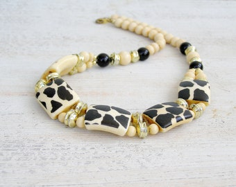 Vintage Leopard Necklace Ivory Black, Mod 60s jewelry, Joan Mad men Inspired, Hollywood Glam, Statement Necklace Evening Jewelry Retro Style